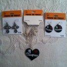 New Lot Jewelry I Love Vampires Necklace Earrings Cross Earrings Black