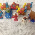 Lot VTG Sesame Street PVC Die Cast Train Car Snuffleupagus Oscar Cookie Monster