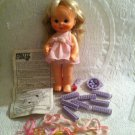"Vintage 1980 Ideal Pretty Curls 12"" Doll & Accessories Rollers Beads Applicator"