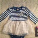 NWT Cherokee Winter Christmas Bodysuit W/ Skirt Ruffle Dress 9M Blue White