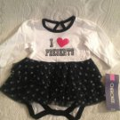 NWT Cherokee Winter Christmas Bodysuit W/ Skirt Ruffle Dress 9M Black White