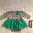 NWT Cherokee Winter Christmas Bodysuit W/ Skirt Ruffle Dress 6M Green Gray