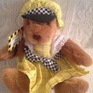 "Rare 8"" Russ Mom's Taxi Service Plush Stuffed Brown Teddy Bear Yellow Dress"