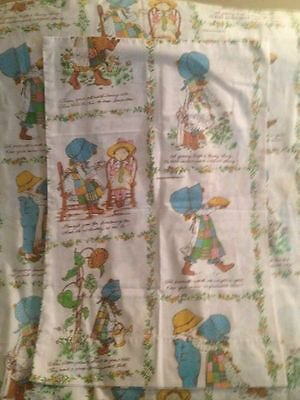Vintage 1976 Holly Hobbie Fabric Twin Flat Bed Sheet & One Pillowcase