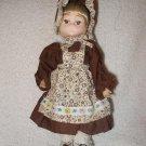 "9"" Bradley Style Vintage Doll Colonial Prairie Brown Dress Bonnet"