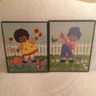 VTG Raggedy & Andy Gardening Kids Pictures Decor African-American Black