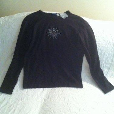 NWT Holiday Editions Christmas Snowflake Winter Sweater Black Sz Small