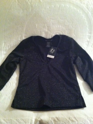 NWT No Boundaries Glitter Pointe 3/4 Sleeve Black Shirt M 7/9 Juniors Clubwear