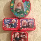Lot Barbie Russell Stover Christmas Red Tin Set 1997 Wreath Green Dress