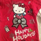 NWT Sanrio Hello Kitty Christmas Girls T-Shirt 12M Red Longsleeve Happy Holidays