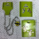 New Halloween Lot Jewelry Bat Necklace Ghost Broom Earrings 4 Pairs