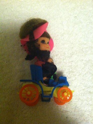 Vintage Liddle Kiddle Henrietta Horseless Carriage Doll Plus Vehicle