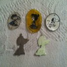 VTG Lot Peanuts Snoopy Shrinky Dinks Silver Necklace Charm Flying Ace Marcy