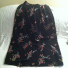 NWT Kathie Lee Black Floral Flower Print Long Skirt Sz 8 Stretch Waist Womans