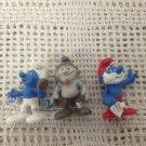 NEW Schleich Smurfs Lot Papa & Smurf Holding Mirror & Hackus PVC