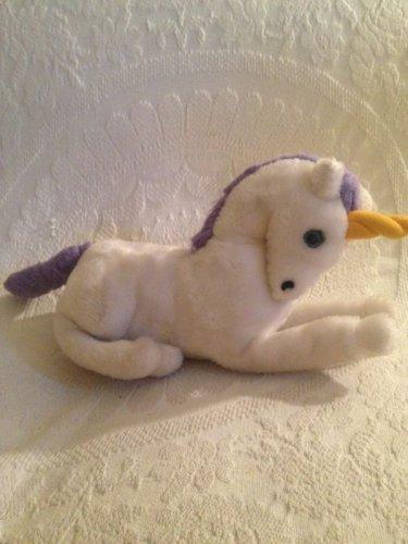 "Rare Vintage 1979 Dakin 12"" Stuffed Plush White Unicorn Purple Mane"