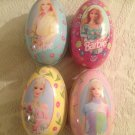 Lot Barbie Russell Stover Egg Tin Set Pink Yellow Blue Flowers Easter