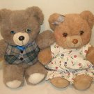 HTF 1987 Applause Wallace Berrie Teddy Winks bears pair plush stuffed bear set