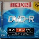NEW Maxell DVD-R 10 pack 4.7GB 16x 120 min