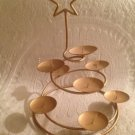 """NEW 14 1/2"""" Christmas Tree Metal Gold Star Multi 8 Candle Holder"""