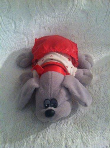 "9"" VTG 1985 Tonka Pound Puppies Grey Plush Stuffed Dog W/ Red Heart Outfit"