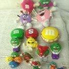 Lot M & M Candy Toys Plush Christmas Ornament Dispenser Tin Green Red Pink