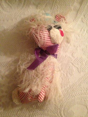 VTG Funky Retro Red White Striped Dog Plush Stuffed Wearing Blue Hat