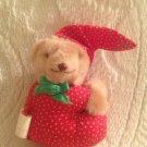 "VTG Russ 3"" Pajamas Teddy Bear Clip On Hugger Christmas Red Green"