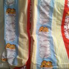 Vintage 1978 Rare Garfield Bed Sheet Set Flat Fitted On Pillow Stack Fabric