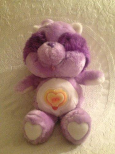 "12"" VTG 1984 Kenner Care Bear Cousins Bright Heart Purple Raccoon Plush Stuffed"