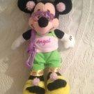 "Rare 9"" Disney Minnie Mouse Angel Shirt Plush Stuffed Beanie Glasses Pocketbook"