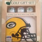 Unused Green Bay Packers NFL Football Golf Gift Set Balls & Golf Towel