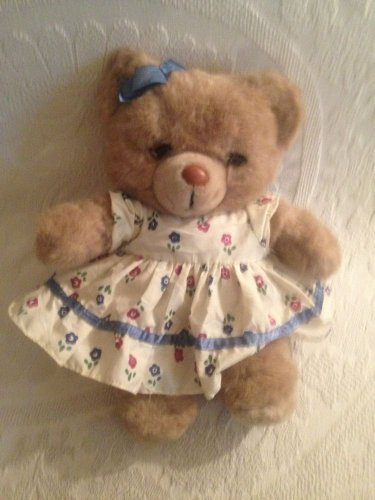 "Vintage 1987 Applause Teddy Winks Mommy Bear 13"" Floral Dress Plush Stuffed"