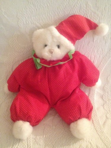 """11"""" Russ Beany The Red Clown Outfit Plush Stuffed White Teddy Bear"""