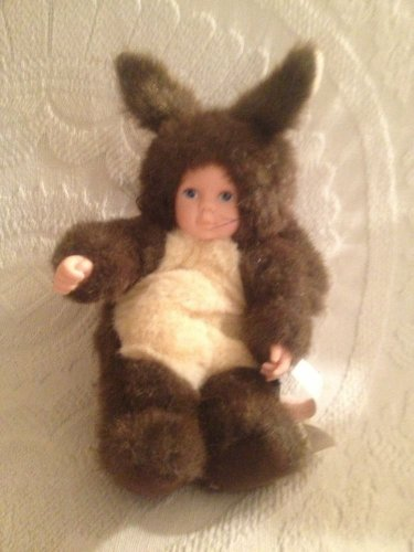 "10"" Anne Geddes Plush Stuffed Beanie Brown Squirrel Baby Doll VGUC"