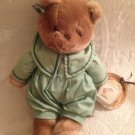 """15"""" Applause VTG 1983 Chantilly Plush Stuffed Cat Green Outfit Straw Hat"""