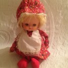 """8"""" Vintage Made In Hong Kong Music Box Doll Red Floral Dress Blonde Hair"""