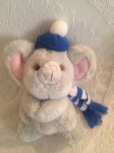 "9"" VTG Russ Rare Mikey Gray Mouse Hat Scarf Plush Stuffed Winter Wear"