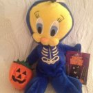 "9"" 1999 Looney Tunes Tweety Bird Blue Skeleton Halloween Bean Bag Plush W/ Tag"