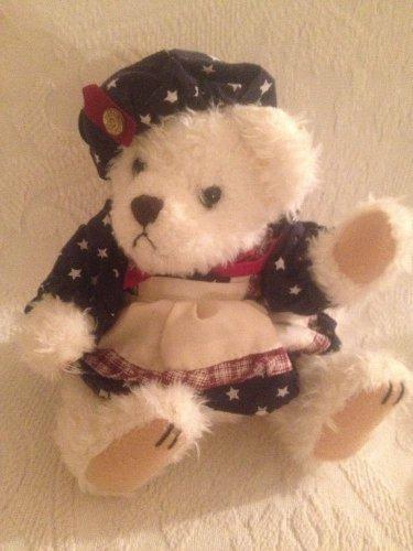 "Brass Button Teddy Bear 8"" Opal Bear Of Love Plush Stuffed Patriotic Dress"