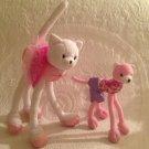 "Lot Mattel Barbie Pose Me Plush Poseable Cat 13"" & 8"" Pink White Ballerina"