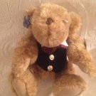 "10"" VTG 1980's Applause Plush Stuffed Virgil Teddy Bear W/ Vest Glasses Bowtie"