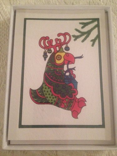 Rare Set 10 Blank Xmas Cards Parrot's Nib Jim Snapper Parrot Reindeer Present