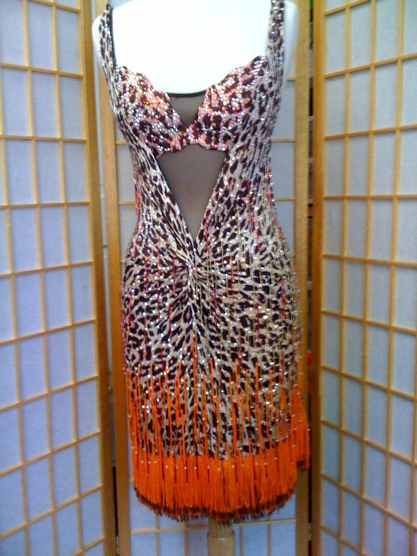 Dance dress lepard print for dance competitions