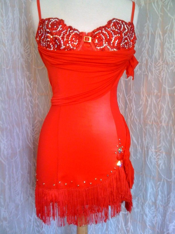 Red short dance dress Latin for dance competitions