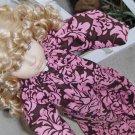 Chocolate Pink Damask Tunic Doll Dress