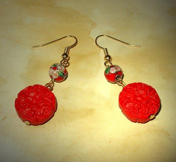 Oriental Red Earrings