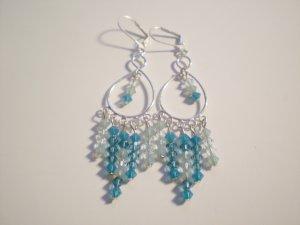 Shades of Teal- Swarovski Chandelier Earrings