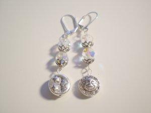 Sun and Moon swarovski crystal dangle earrings