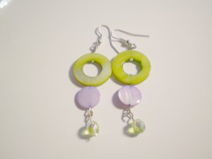 Lime Green and purple shell and glass earrings